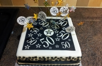 50th Birthday Cake Black & White stars