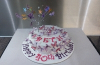 Butterfly birthday cake, with wired butterfly topper