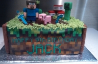 Minecraft birthday cake, with fondant models