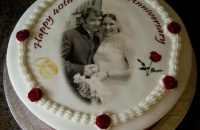 40th Wedding Anniversary Cake with Photograph of Couple