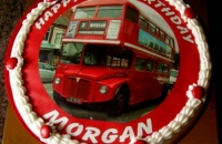 British Red Bus Cake for 3rd Birthday