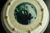 Golden Anniversary Cake with Wedding Photograph