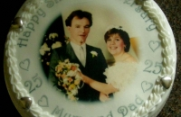 Silver Wedding Anniversary Cake with Wedding Photo